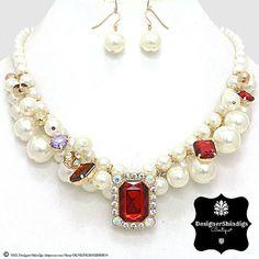 OW Cream Pearl & Rhinestone Gold Bridal Bib by DESIGNERSHINDIGS