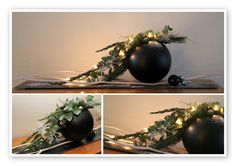 Lots of beautiful Christmas centrepieces.