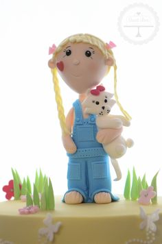 Sugarpaste farm girl with her little kitty-kat