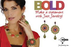 Make a bold statement with Just Jewelry's Finishing Touch necklace, bracelet and earrings set!