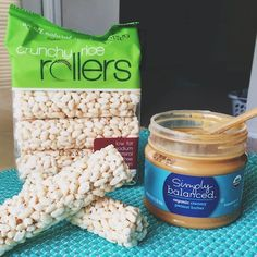 My snack today are these cool new rice rollers (found at Costco) by the brand Bamboo Lane dipped in organic peanut butter  Roll them in coconut flakes & cacao nibs if you're a cool kid ✌️ So yummy and quick, I love finding new vegan products!
