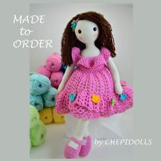 MADE TO ORDER 16 Inches tall Crochet doll Available by chepidolls