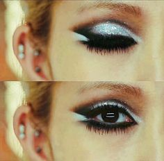 silver sparkly eye shadow - thick black liner