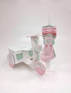 βαπτιστικό κουτί μηχανάκι σε ρόζ και βεραμάν