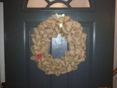 My new front door wreath made by me :)  92 burlap bubbles!