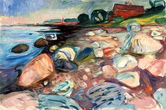 shore with red house  - Edvard Munch
