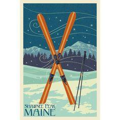 Shawnee Peak ME Crossed Ski Letterpress LP Artwork (Chef's Cotton/Poly Apron), Blue wash
