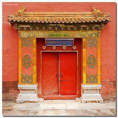 Red Door by fcphoto Stairs Window, Doorway, Chinese Door, Gates, Kung Fu, Portal, The Doors Of Perception, Glazed Tiles, Unique Doors