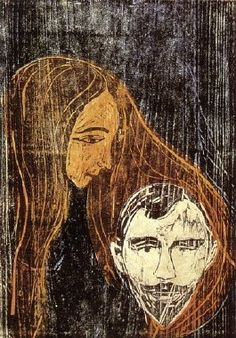1896, Man's Head in Woman's Hair. Collection: Berliner Kupferstichkabinett. Technique: Woodcut with gouges, chisel and fretsaw. Theme: Fight between the Sexes: Love and Jealousy.