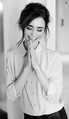 Surya namaskar with a smile makes a happy life # lily collins. IS Sharma