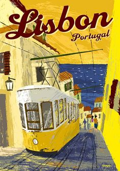 Travel  poster for Lisbon Portugal showing one of the famous yellow funiculars.  Michael Crampton Illustration.