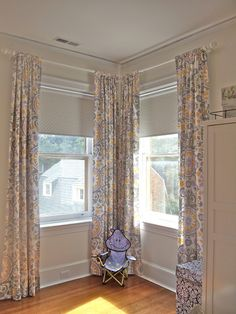 Love The Fabric And Curtains Hung High With Poka Dot Roller Shade From Smith