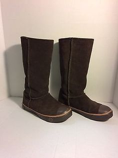 Ugg Delaine 1886 Chocolate  Suede Sheepskin pull on boots size US 5/EURO 36  | eBay