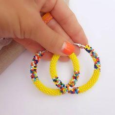 African style 155303887169872547 - Yellow colorful beaded hoop earrings, Tribal african maasai hoops, Big afrocentric earrings, Seed be Source by etsy Seed Bead Jewelry, Seed Bead Earrings, Circle Earrings, Beaded Earrings, Statement Earrings, Beaded Jewelry, Handmade Jewelry, Beaded Bracelets, Hoop Earrings