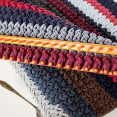 Turn old t-shirts into T-Shirt Yarn! This yarn can be used to make fabulous dishcloths. Smart upcycling!