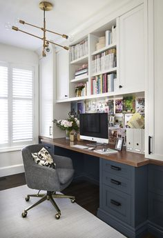 Built in desk area in a functional and pretty home office from Decor Happy.