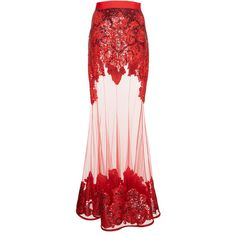 Givenchy Embroidered Tulle Skirt ($23,470) ❤ liked on Polyvore featuring skirts, givenchy, red, high-waist skirt, high rise skirts, red skirt, high-waisted skirts and pink high waisted skirt