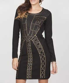 Look at this #zulilyfind! Black Studded Crew Neck Dress #zulilyfinds