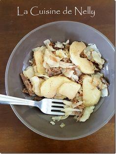 Effiloché de Canard confit, Chou et Pomme au 4-épices Potato Salad, Cauliflower, Potatoes, Chicken, Vegetables, Ethnic Recipes, Food, Confit Duck Leg, Duck Confit