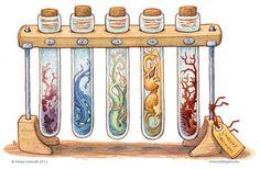 Bottled: Test Tube Slimes by Emma Lazauski Inspiration Art, Art Inspo, Fantasy Kunst, Fantasy Art, Fantasy Creatures, Mythical Creatures, Animal Drawings, Art Drawings, Creature Design