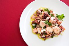 Salada de Polvo/ Octopus Salad:  Octopus, onions, garlic, pickles, coriander, olive oil, vinegar, salt, black pepper