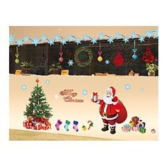 Wall Stickers Wall Decals, Style Christmas Tree, Santa Claus PVC Wall Stickers – EUR € 27.26