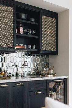Modern Farmhouse Dream Home Home Bar Rooms, Home Bar Areas, Home Bar Decor, In Home Bar Ideas, Modern Bars For Home, Modern Home Bar Designs, House Ideas, Built In Bar Cabinet, Home Bar Cabinet