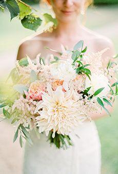 Blush Dahila Bouquet   Wedding Flowers