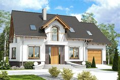 Projekt domu z poddaszem o pow. 113,8 m2 z garażem 1-st., z dachem dwuspadowym, z tarasem, z wykuszem, sprawdź! Small Country Homes, Cottage Style Homes, Dream House Exterior, Concept Home, Classic House, House Front, Home Fashion, Traditional House, My Dream Home