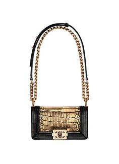 This gilded shoulder bag is not for the faint of heart. Chanel alligator and lambskin bag.