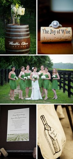 Irish and wine themed wedding. Green dresses could work with centerpiece idea