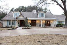 magnolia homes. waco reno. Café Exterior, Dream House Exterior, Exterior House Colors, Exterior Design, Exterior Shutters, Wood Shutters, Exterior Paint, Blue Shutters, Exterior Signage
