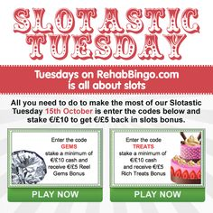 SLOTASTIC TUESDAY •.★.• All you need to do to make the most of our Slotastic Tuesday is enter the codes, stake €/£10 and get €/£5 back in slots bonus. Bingo Games, Casino Games, Slot, Tuesday, Budgeting, Coding, How To Get, Budget Organization, Programming