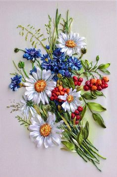 Embroidered picture Silk ribbon embroidery wildflowers