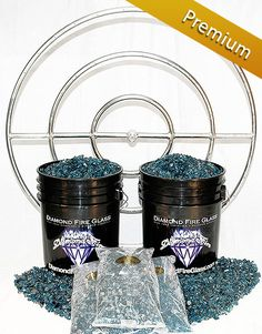 Fire Pit Glass Kit with 36 Inch Stainless Steel Fire Pit Ring