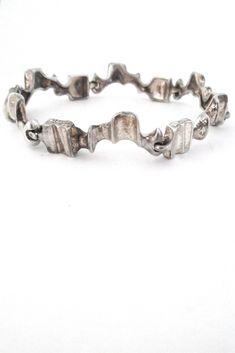 Bjorn Weckstrom for Lapponia, Finland - sculptural silver 'Caravan' bracelet #bracelet #Finland