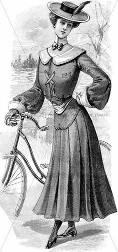 Vintage Field & Garden: Free Vintage Fashion Illustration 08292014: Edwardian Lady with a Touring Bicycle (La Mode Illustreé, February 14, 1...