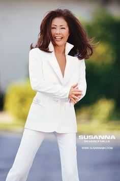 Susanna Beverly Hills Custom made to order or ready to wear while pantsuit. Women's career clothes.  Visit www.Susannabh.com