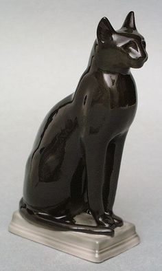"""Lomonosov Figurine Egyptian Cat Big in Pottery,  Lomonosov Figurine Egyptian Cat Big measures 6 1/4"""" H x 2"""" W. The item is hand painted and has a stamp of the factory on the bottom."""