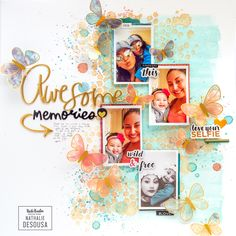 "Are you looking to add color and mixed media fun to your favorite layouts? Get ready to get creative with the gorgeous ""Wildflower and Honey"" collection from Vicki Boutin and American Crafts. Scrapbook Storage, Baby Scrapbook, Scrapbook Albums, Scrapbook Cards, Christmas Scrapbook Layouts, Scrapbook Page Layouts, Scrapbook Paper Crafts, Multi Picture, Multi Photo"