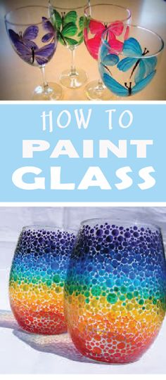 Glass painting How to Paint glass! Learn tips and several different methods as to how to paint your glass objects! Painting Glass Jars, Painted Glass Bottles, Glass Painting Designs, Bottle Painting, How To Paint Glass, Diy Glass Etching, Paint Bottles, Diy Wine Glasses, Hand Painted Wine Glasses