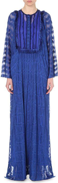 MISSONI Embroidered stretch-silk maxi kaftan