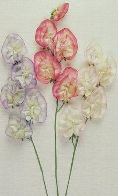 broderie au ruban, orchidées douces