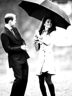 william and princess kate duchess of cambridge - royal - umbrella - fun - rain - love - couple - cute