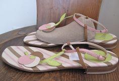 FURLA sz 39 Unique Flat Strappy Sandal sz 9, on ebay $29