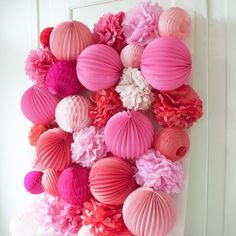 DIY Party Wall PomPoms and Paper Lanterns make quite the