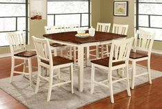 Furniture of America Betsy Jane Country Style Counter Height Dining Set (Antique White & Cherry), Brown, Size Sets Pub Dining Set, Country Dining Rooms, Pub Table Sets, Solid Wood Dining Table, Table And Chair Sets, Dining Room Sets, Dining Room Table, Dining Decor, Dining Chairs