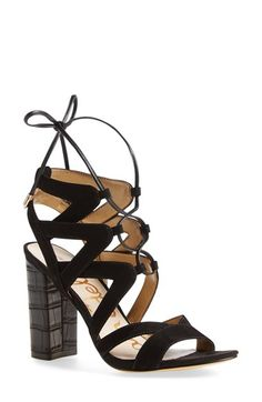 black lace up heel for a night out