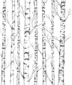 Birch Forest Template/ Stencil Example in Soft Watercolors.