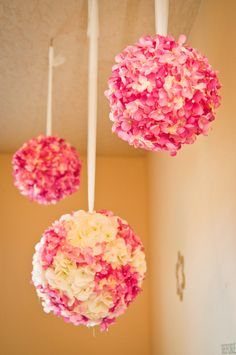 Hydrangea Wedding Balls (in blue)-could be made from artificial for cost savings to hang down aisle or at ceremony or above or on sweetheart/head table